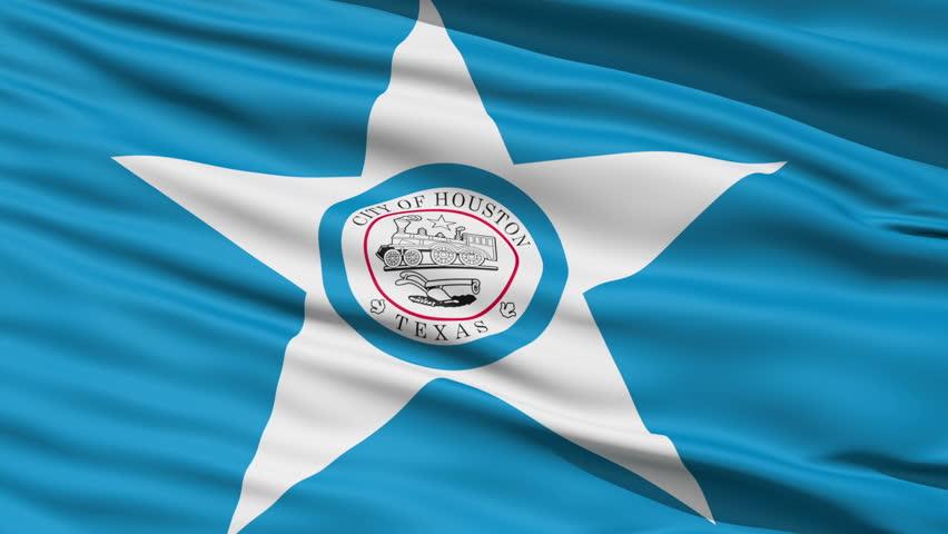 Houston Texas Waving American State Capital City Flag Animation
