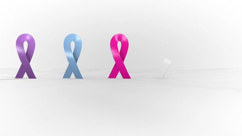 Fight against cancer symbol. Ribbons of different colors. Cancer fight symbol.