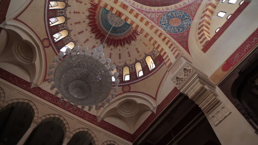 Mohammad Al-Amin Mosque, Beirut. Circular pan across the dome and half domes to the central hall of the mosque. (Beirut, Lebanon - 2016)