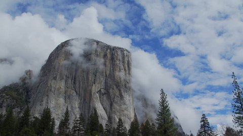 A view of Yosemite Valley is a glacial valley in Yosemite National Park in the western Sierra Nevada mountains of Northern California. The valley is surrounded by Half Dome and El Capitan.