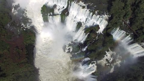 Top view of Iguazu Falls, on the border of Brazil and Argentina.