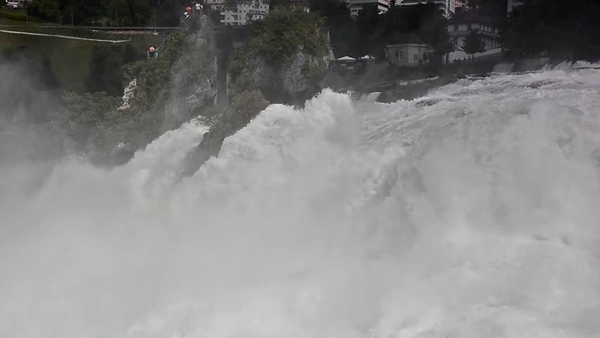 The Rhine Falls, the largest plain waterfall in Europe. Switzerland. - HD stock video clip