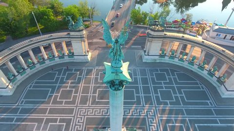 Aerial video shows the Heroes Square in downtown Budapest, Hungary - Full HD drone footage