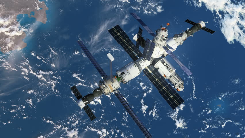 Increasing The Height Of The Orbit Of The Space Station. 3D Animation.