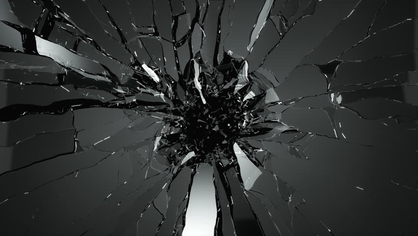 Cracked and Shattered black glass with slow motion 4?. Alpha is included | Shutterstock HD Video #17244421