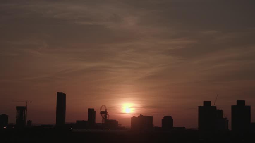 Stratford London skyline, against a sunset | Shutterstock HD Video #17265826