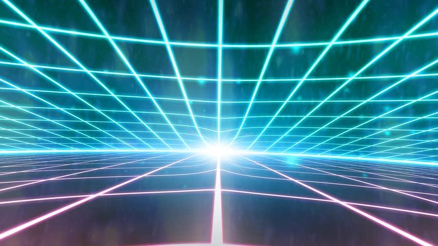 Retro 80s VHS tape video game intro landscape vector arcade wireframe terrain 4k