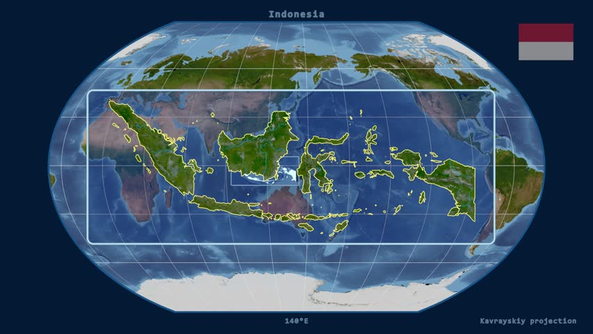 Zoomedin View Of A Indonesia Outline With Perspective Lines - Earth map satellite