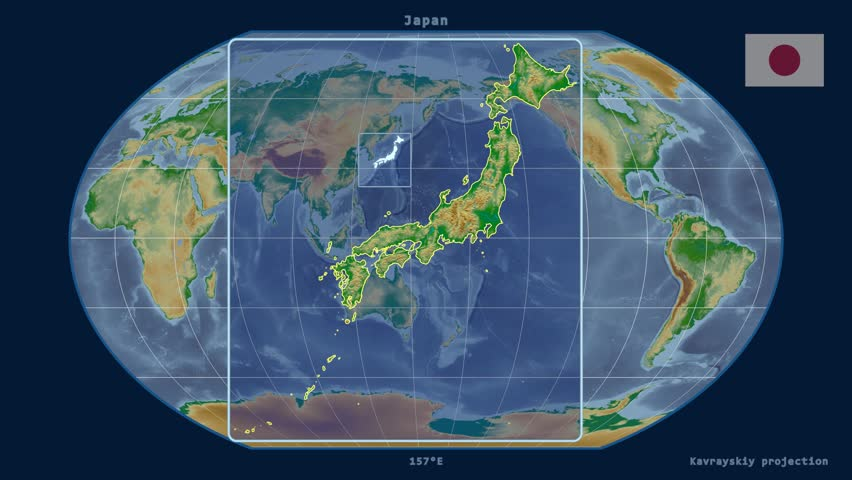 Zoomed in view of a japan outline with perspective lines against a zoomed in view of a japan outline with perspective lines against a global physical map gumiabroncs Images