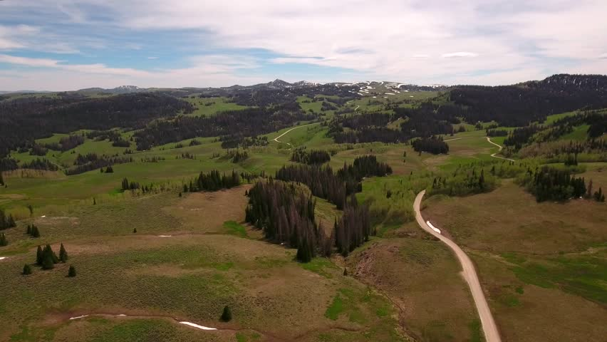 A cool aerial shot of high mountain passes in the spring with snow and green fields with tall pine trees | Shutterstock HD Video #17334436