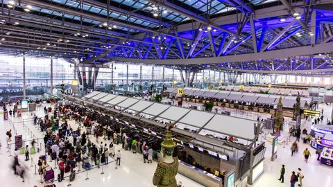 bangkok city international airport chek-in panorama 4k time lapse thailand