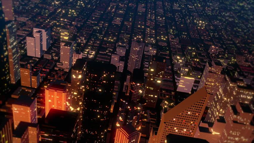 Downtown Metro City Skyline Fly Over Aerial Loop