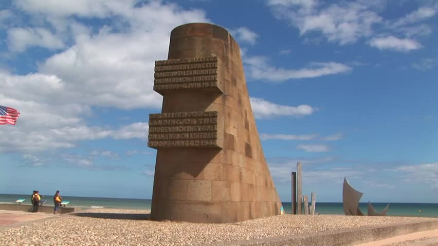 Ww2 Monument At Omaha Beach Normandy France Circa 2008 Commemorative D Day Landing Site Of Allied Forces During June 6