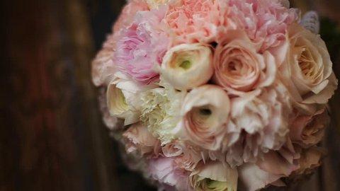 wonderful wedding bouquet on table
