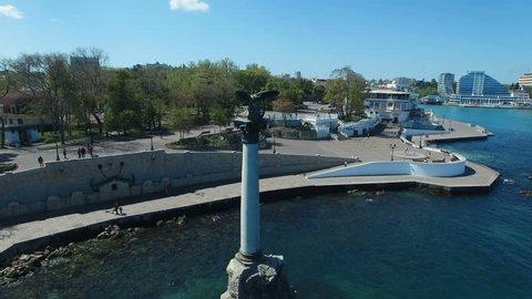 Aerial view of Monument to sunken ships in Black sea, Sevastopol, Crimea.