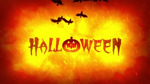 Halloween theme 4K high definition animation featuring Jack o Lantern pumpkin and bats flying on hellish fire flames background.