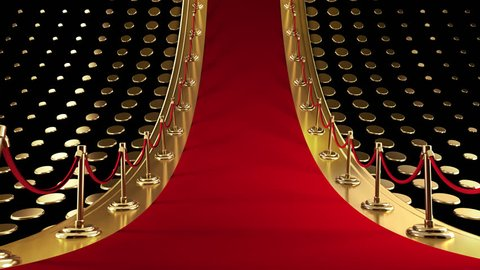 This is an elegant looping background featuring a classic red carpet with velvet ropes.  It is suitable for Awards Shows or any other use that requires a very high-end look.