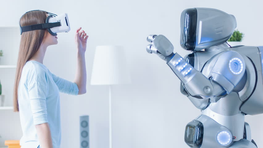 Pleasant woman repeating motions after robot...