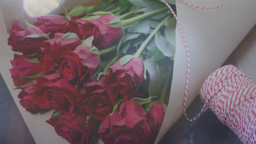 Red Roses Wrapped In Brown Stock Footage Video 100 Royalty Free