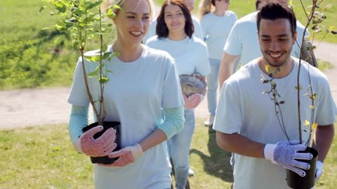 volunteering, charity, people and ecology concept - group of happy volunteers with tree seedlings walking in park