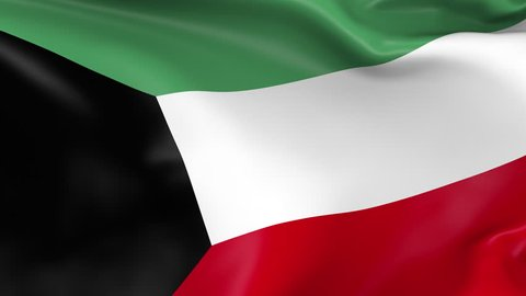 Photo realistic slow motion 4KHD flag of the Kuwait waving in the wind. Seamless loop animation with highly detailed fabric texture in 4K resolution.