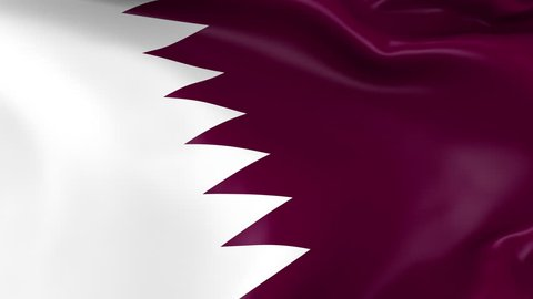Photo realistic slow motion 4KHD flag of the Qatar waving in the wind. Seamless loop animation with highly detailed fabric texture in 4K resolution.