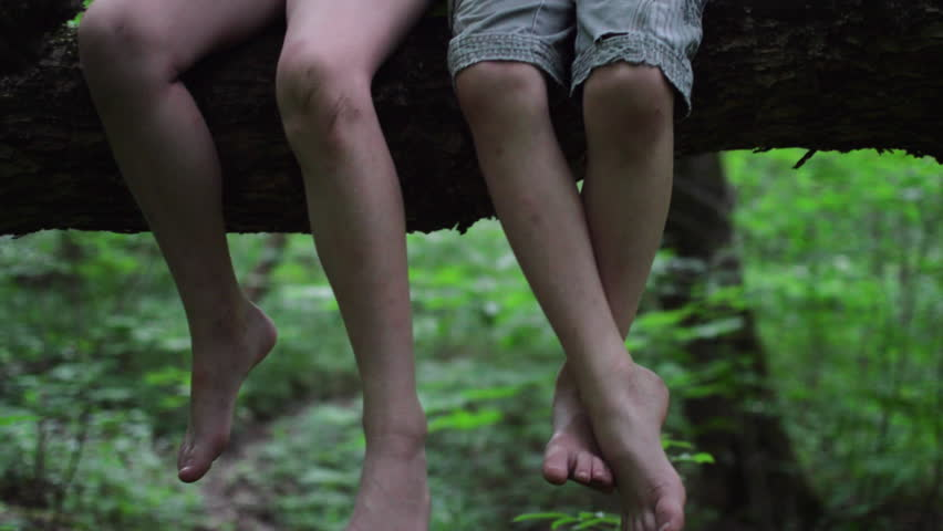Two Kids Sit In A Tree, Closeup Of Their Legs