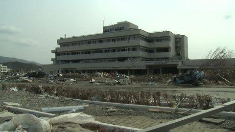 RIKUZENTAKATA, JAPAN - APRIL 1: Tsunami damage to hospital In Rikuzentakata, Japan on April 1, 2011.