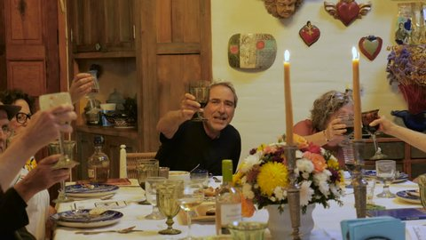 A large group of seniors toast each other at a dinner party or passover seder
