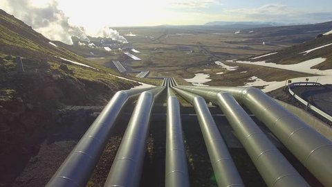 Aerial video of a geothermal power plant in Iceland producing electricity for the city of Reykjavik