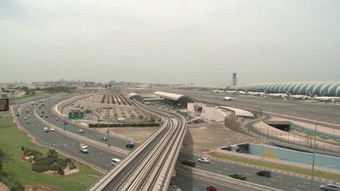 Dubai Metro. Wide shot of the Terminal Three metro station at Dubai International Airport. (Dubai, UAE - 2016)