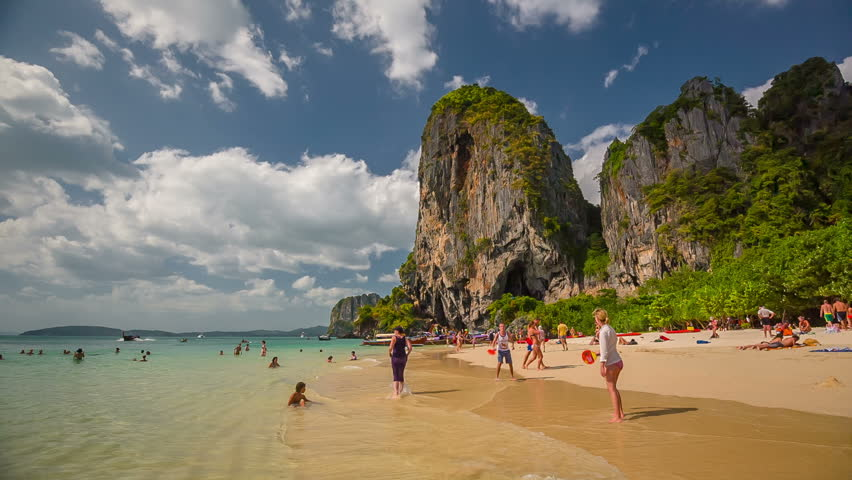 PHUKET, THAILAND - JANUARY 2016: sunny day famous krabi tourist crowd beach panorama hd circa january 2016 phuket, thailand.