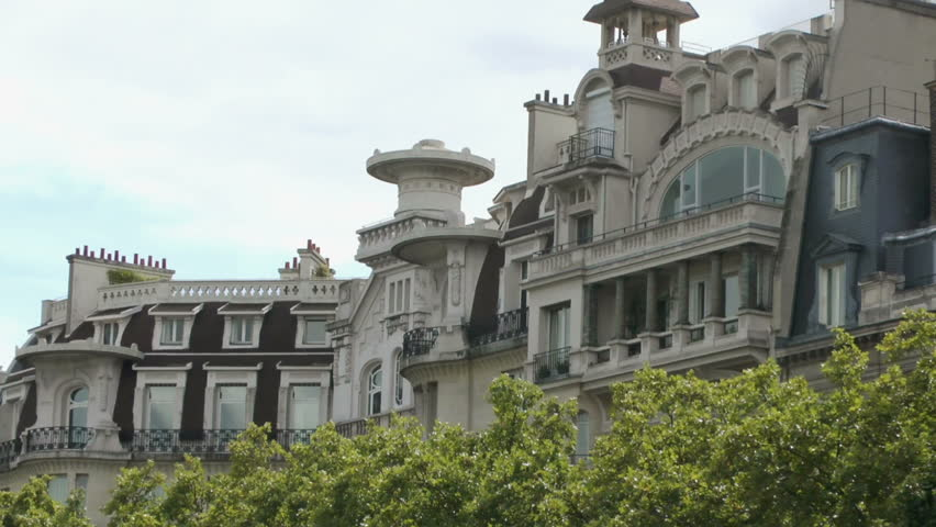 Typical Buildings Of Paris With signature rooftops and verandas | Shutterstock HD Video #17620486