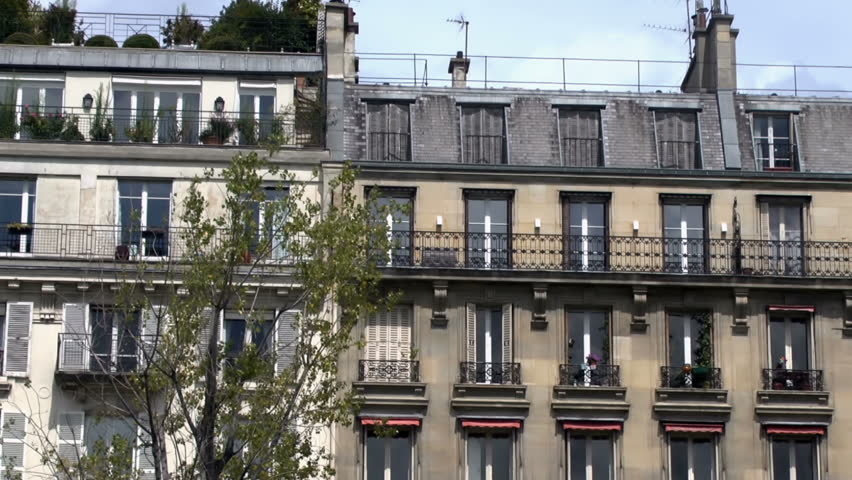 Typical Buildings Of Paris With signature rooftops and verandas | Shutterstock HD Video #17620489