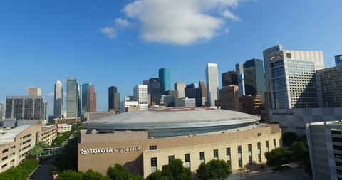 Houston, Texas / USA. November 18, 2015. Drone from the East side. You can clearly see The Toyota Center.
