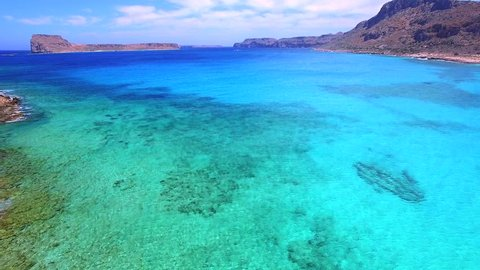 beautiful crete landscape with amazing beaches (aerial view)
