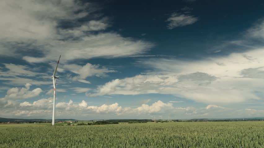 Wind Turbines under a partly cloudy sky, Hessen, Germany #17669098