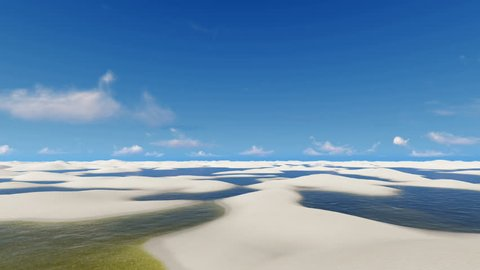 Travel through unique white sand dunes and rainwater lagoons in Lencois Maranhenses National Park in Brazil on off-road vehicles SUVs. 3D animation rendered in 4K, ultra high definition.