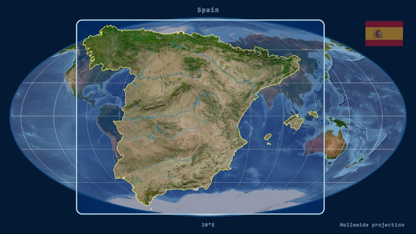Satellite Map Of Spain.Zoomed In View Of A Spain Stock Footage Video 100 Royalty Free 17706376 Shutterstock