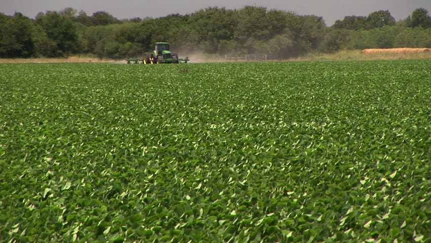 tractor plowing a soy bean field