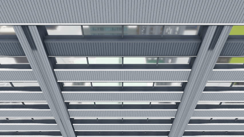 Downward motion along gray exterior wall of abstract high rise office building with reflection on its mirror windows. Close up. 3D animation rendered in 4K, ultra high definition. | Shutterstock HD Video #17729086
