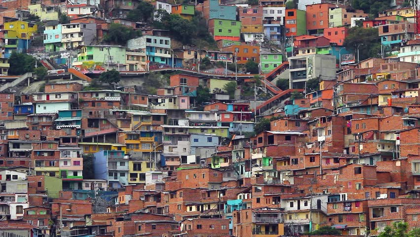 VIEW OF COMUNA 13, MEDELLIN, COLOMBIA - COLORED HOUSES