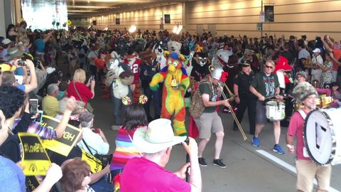 Pittsburgh, pa - july 2, 2016 - furries parade outside the david l   lawrence convention center in downtown pittsburgh during their 2016  anthrocon convention