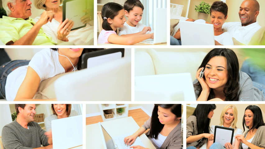 Montage of Modern Wireless Technology Used in the Home