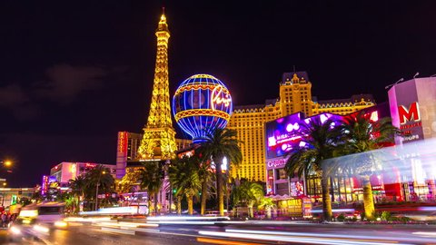 LAS VEGAS, USA - MAY 2016: night las vegas traffic strip street panorama paris casino panorama 4k time lapse circa may 2016 las vegas, united states of america.