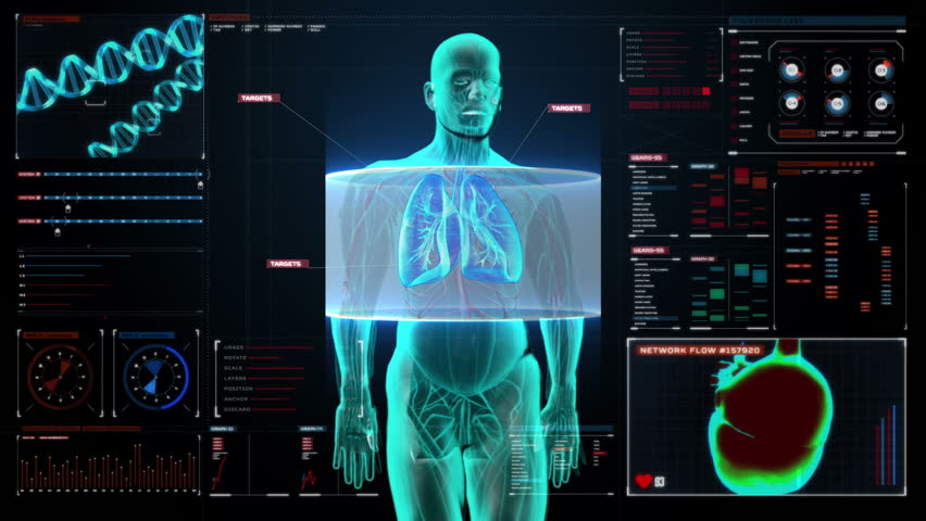 Scanning body. Rotating Human lungs, Pulmonary Diagnostics in digital display dashboard. Blue X-ray light.