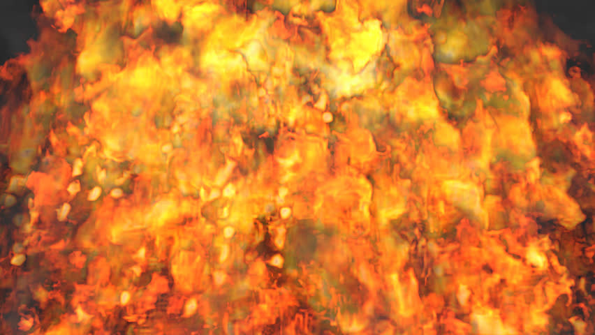 Animated volcano of bursting fire with raging flames. Transparent background. Alpha channel embedded with 4k PNG file.
