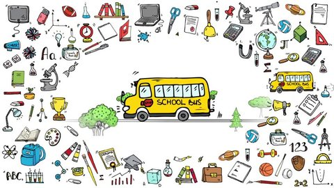 Back to school with hand drawn doodle educational symbols. Cartoon. Various learning elements. Sketch style