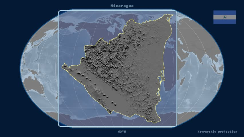 Zoomed-in view of a Nicaragua outline with perspective lines against a global elevation map in the Kavrayskiy VII projection | Shutterstock HD Video #17928646