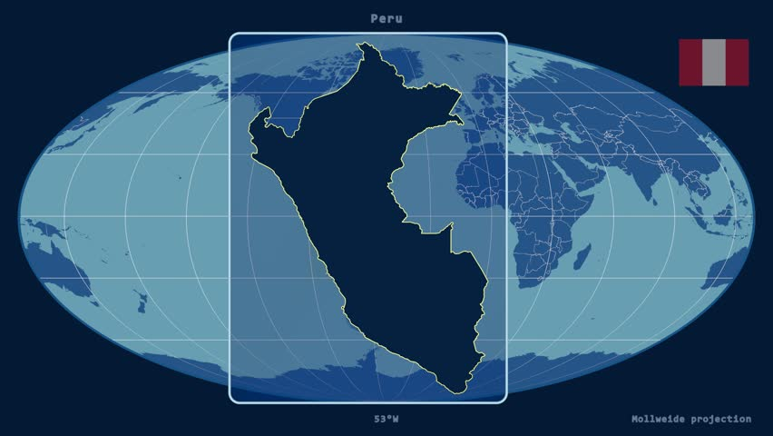 Zoomed In View Of A Peru Outline With Perspective Lines Against A Global Admin Map